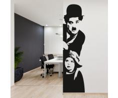 Adesiviamo Charlie Chaplin Muro L Adesivo Murale, PVC, Nero, 120 x 48 cm
