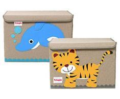 Tsingle Cassettiera per giocattoli con coperchio, organizer grande per bambini, in tela per riporre giocattoli, libri, biancheria da letto, 36 x 52 x 35 cm, 65 L (TIGER & DOLPHIN)