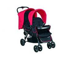 Safety 1st Duodeal Passeggino Gemellare Fratellare Compatto Reclinabile, con Parapioggia e 2 Coprigambe, Plain Red