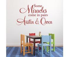 Adesivo da parete in vinile con scritta in inglese N/ A Some Miracles Come In pair, per camera da letto gemelli e camera da letto