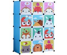 BRIAN & DANY Armadio Modulare Bambini, Portatile Guardaroba, Armadietto in Moduli Plastici, Blue, 110 x 47 x 147 cm