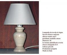 Paolo Rossi Lampada lumetto abat Jour da Comodino in Legno tornito con Paralume; Produzione Propria, Made in Italy (Avorio)