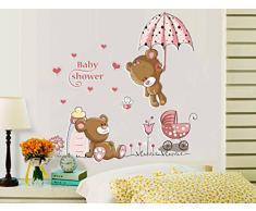 ufengke® Orsi Carino Ombrello Fiore Adesivi Murali, Camera dei Bambini Vivai Adesivi da Parete Removibili/Stickers Murali/Decorazione Murale