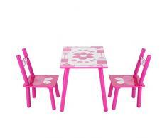 Set di tavolo e sedie per bambini, Set di mobili per bambini con 1 Tavolo e 2 Sedie per pittura/Lettura/Gioco di Gruppo in Classe e Casa