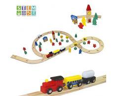Trenino Legno Giocattoli Pista Bambini Giochi in Legno 48 Pezzi Giochi Pista Ferrovia Gioco Macchinine Ferrovia Auto Treno Costruzioni Puzzle per Bambini 3 4 5 6 Anni