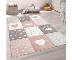 Paco Home Tappeto per Bambini A Quadri Cuori Stelle Diversi Colori e Misure, Dimensione:80x150 cm, Colore:Rosa