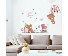 ufengke® Orsi Cute Baby e Fiori Ombrello Adesivi Murali, Camera dei Bambini Vivai Adesivi da Parete Removibili/Stickers Murali/Decorazione Murale