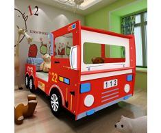 vidaXL Lettino per Bambini Macchina dei Pompieri 200x90 cm Rosso