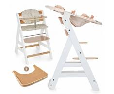 Hauck Beta Plus Newborn - Seggiolone Pappa evolutivo 0 mesi - Con Sdraietta neonato, Riduttore, Cuscino seduta, Vassoio - Altezza regolabile, Legno Bianco Naturale