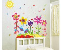 Malloom® Adesivo da Parete Fiore Farfalla Vinile Smontabile Arte della Decalcomania della Decorazione della Casa Murale per Stanza Bambino Carta da Parati