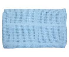 EliteHomeCollection - Coperta morbida per carrozzina, lettino, culla o culla in vimini, 100% cotone cellulare, 80 x 110 cm 80cm x 110cm blu