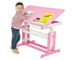 TecTake Scrivania per bambini regolabile in altezza rosa