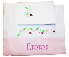 """ZIGOZAGO - Set per culla o lettino """"MARGHERITE"""" in piquet di cotone in 3 pezzi con nome personalizzato. Bordo rosa. Federa, lenzuolo e coprimaterasso con elastico"""