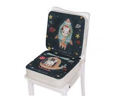 AOOPOO Cuscino per sedia da pranzo per bambini, imbottitura per sedia portatile con cinghie regolabili per Seggiolone Cuscino di Rialzo (Aviazione, 39 * 39 * 10 cm+39 * 39 * 5 cm)