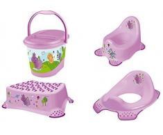 4 Set Hippo lilla Vasino + WC Rialzo + Sgabello + Secchio per pannolini