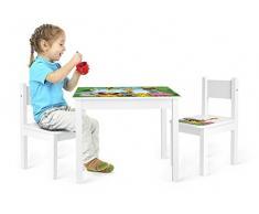 Leomark Yeti Tavolo e 2 sedie in Legno, tavolino Set da cameretta per Bambini, Gioco di Gruppo in Classe, mobili per Bambini, Stanza dei Bambini mobili Alta qualità Stabile, Tema: Giungla