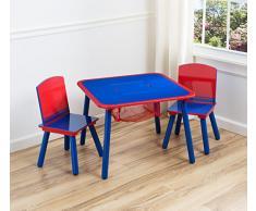 Delta Children - Set Tavolo e Sedia da Bambina, Blu/Rosso