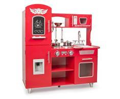 Leomark cucina grande, giocattolo per bambini, gioco in legno, giocare educazione, tavola divertimento, nuovo accessori per cucina, dimensioni 86cm x 34cm x 89cm (LxPxA), colore Rosso Big Red