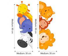 R00204 Adesivo murale per bambini Wall Art - Animaletti affacciati multicolore - Misure 30x120 cm - Decorazione parete, adesivi per muro, carta da parati