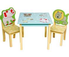 IB-Style - Set di mobili per bambini SAFARI | 3 combinazioni | Set composto da tavolo per bambini e 2 sedie