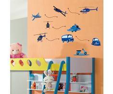 S.Twl.E Bambini Cartoon di testa macchina Aereo adesivo parete vivaio punte di decorazione camera da letto Soggiorno sfondo adesivo rimovibile grande