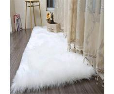 Daoxu tappeto in pelliccia ecologica di pecora, elemento decorativo a pelo lungo in simil lana, da posizionare ai piedi del divano, del letto o della poltrona, bianco, 50 x 150 cm