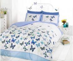 Just Contempo - Copripiumino double-face misto cotone, set di biancheria da letto per bambine, con motivo a pois e secondo motivo a farfalle, Cotone, blu (bianco foglia di tè bianco), copripiumino singolo (da bambini per bambini)