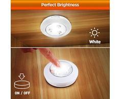 SOAIY 8pcs LED Lampada Wireless Luce Notturna al Tocco Stick-on Ovunque con 3AAA Batterie Funzionate,Lampada per Armadio, Camera da Letto, Macchina, Cucina