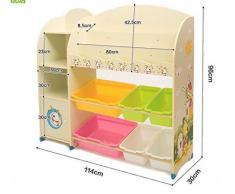 Szfmmy®, mobiletto con 3 ripiani, scaffali e cassetti per riporre i giochi e i libri dei bambini, colore beige