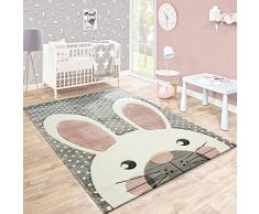 Paco Home Tappeto per Bambini Stanza dei Bambini Taglio Sagomato Grazioso Coniglio Grigio Crema Rosa, Dimensione:120x170 cm