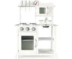 Leomark Cucina White Classic Classica Bianca Cucina Giocattolo per Bambini Gioco in Legno Giocare dimitazione Nuovo Accessori per Cucina, Dimensioni: 59,5 x 29,5 x 85cm