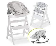 Hauck Alpha Plus Newborn Set Premium - Seggiolone Evolutivo Hauck dalla nascita, funzione reclinabile - Sdraietta Dondolo Neonati, cuscino seduta - Bianco
