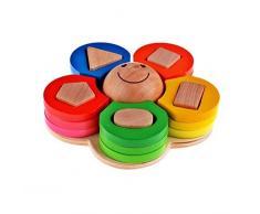 Legno Forma Colore Riconoscimento Pila Ordina Puzzle Giocattoli, regali di compleanno giocattolo per età 3 4 5 anni in su dei bambini del capretto del bambino del bambino della ragazza del ragazzo