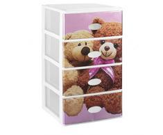 Great Plastic cassettiera componibile con 4 cassetti, parte frontale trasparente con decorazione per bambini, colore: rosa/bianco, set di 21 pz.