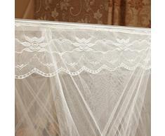 Livecity romantica principessa Lace baldacchino zanzariera senza telaio per Twin Full Queen King letto, Beige, King