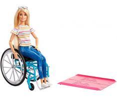 Barbie-GGL22 Fashionistas, Bambola in Sedia a Rotelle, Giocattolo per Bambini 3+ Anni, Multicolore, GGL22