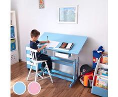 TecTake Scrivania per bambini regolabile in altezza blu