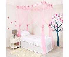 Home and More Store Ltd Mosquito Nets 4 U - Bambini Principessa Fiore Bianco Letto a baldacchino con Pacco Regalo