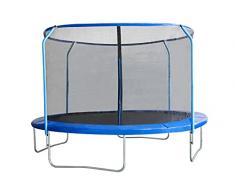 EUGAD Trampolino Elastico da Giardino Esterni Mini Trampolino da Gioco per Bambini con Rete di Sicurezza e Tappeto Elastico 240cm Blu 0003BC