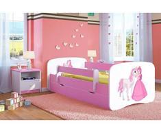 Letto per Bambini Singolo Rosa 140x70 160x80 180x80 con sponda anticaduta con barriera con Materasso cassettone Estraibile per Ragazza - Principessa e cavallo - 180x80