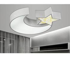 LYXG Lampada da soffitto Led luci ragazzi e ragazze Luna stelle creative camera da letto studio luce bambini arte luce di lampade in ferro (550mm*70mm), scatola bianca con luce bianca