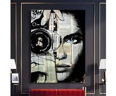 EBONP Quadro su Tela Pittura Decorativa Arte Stampe Foto Decorazioni per la casa Quadri Tela Donna Giornale Macchina Fotografica Poster Camera da Letto Moderna Wall Art No incorniciato-20x28inch