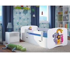 Wonderhome24 Bianco Lettino con Materasso e stoccaggio Inclusi. Kids Junior Letto per Bambini, Animali, Cars, 9. Zoo, 160x80