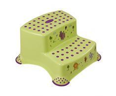 OKT Kids 10031262012 - Sgabello a due gradini, motivo ippopotami, colore: Verde lime