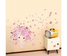 ZBYLL Wall Stickers Principessa Castello per Bambini Camera da Letto Camera Carta Stickers Murali