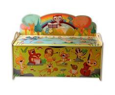Dida - Panca portagiochi in legno per bambini - decoro: animali in concerto nel bosco
