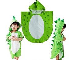 Asciugamano per bambini Robe Kids con cappuccio da spiaggia a forma di poncho con motivo di dinosauro