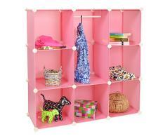 ts-ideen GmbH Armadio/Armadietto a muro per bambini a scomparti senza viti e con sportelli, colore: rosa
