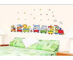 ufengke® Cartone Animato Animale Treno Adesivi Murali, Camera Dei Bambini Vivai Adesivi da Parete Removibili/Stickers Murali/Decorazione Murale