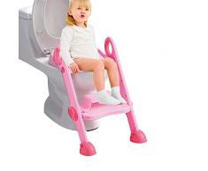 con Imbottito Schienale e Base Antiscivolo Harpily Vasetto WC per Bimbi Bimbo Vasino per Bambini WC Adorabile Mucca Rosa Forma Ergonomica Rosa